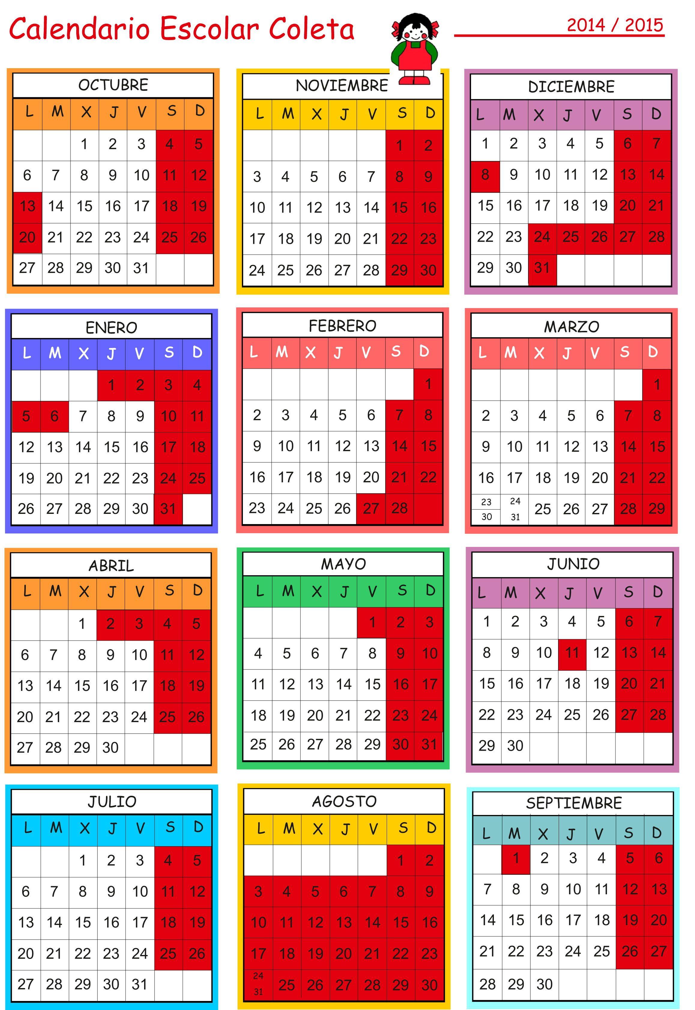 Calendario Escolar Escuela Infantil Coleta 2014-2015